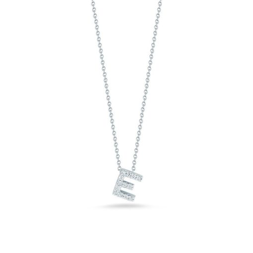 Roberto Coin 18K White Gold Tiny Treasures Diamond Letter E Pendant
