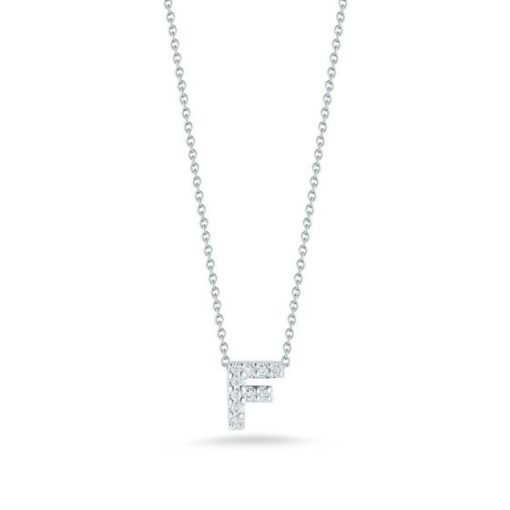 Roberto Coin 18K White Gold Tiny Treasures Diamond Letter F Pendant