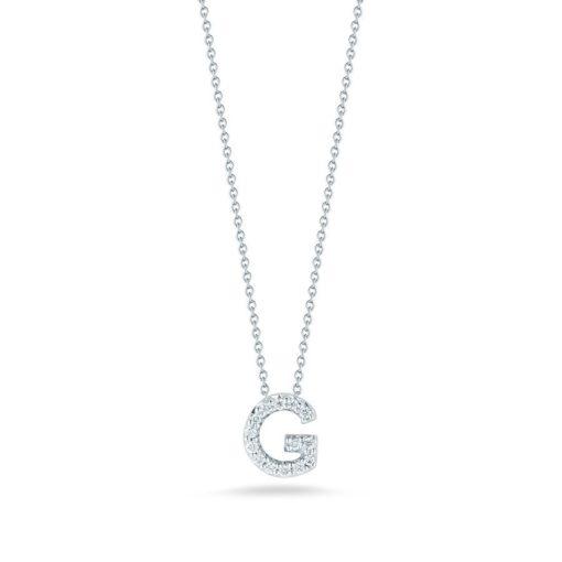Roberto Coin 18K White Gold Tiny Treasures Diamond Letter G Pendant