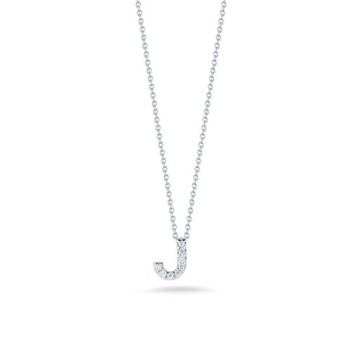 Roberto Coin 18K White Gold Tiny Treasures Diamond Letter J Pendant