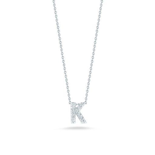 Roberto Coin 18K White Gold Tiny Treasures Diamond Letter K Pendant