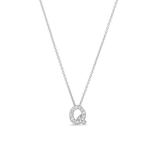 Roberto Coin 18K White Gold Tiny Treasures Diamond Letter Q PendanT