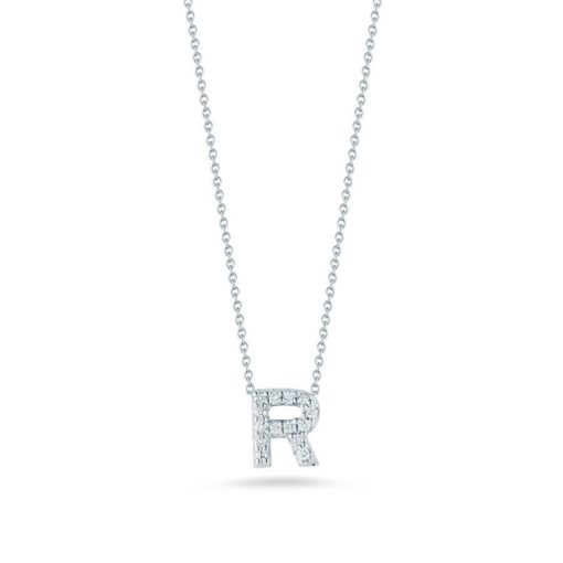 Roberto Coin 18K White Gold Tiny Treasures Diamond Letter R Pendant