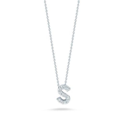 Roberto Coin 18K White Gold Tiny Treasures Diamond Letter S Pendant