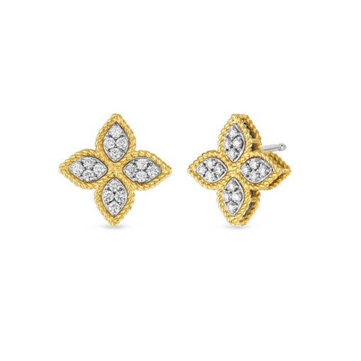 ROBERTO COIN Princess Flower Yellow Gold Diamond Earrings - Carats Jewelry and Gifts