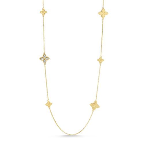 Roberto Coin Princess Flowers Two-Tone Diamond Station Necklace 1/6ctw - Carats Jewelry and Gifts