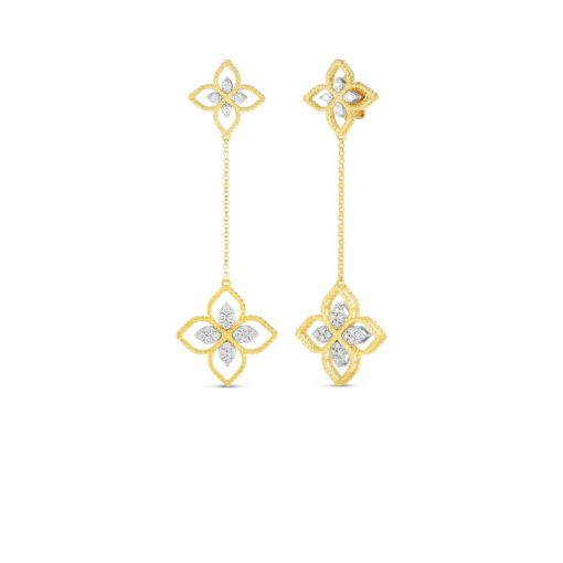 ROBERTO COIN Princess Flower Open Drop Earrings With Diamonds - Carats Jewelry and Gifts