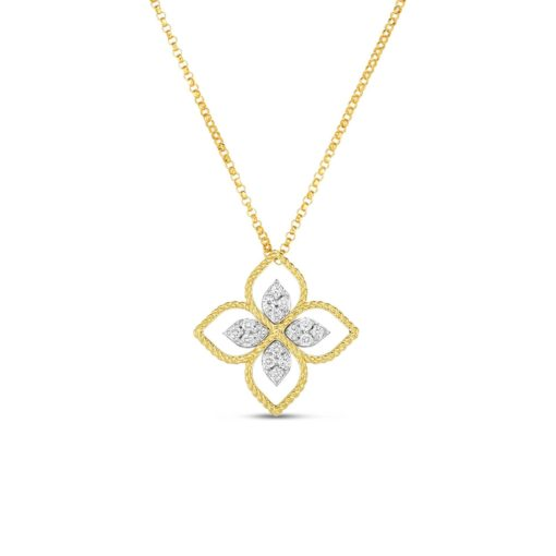 Roberto Coin Princess Flower Large Yellow Gold Diamond Pendant Necklace 1/6ctw - Carats Jewelry and Gifts
