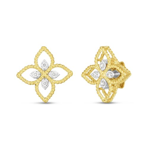 Roberto Coin Princess Flower Small Gold Diamond Stud Earrings 1/10ctw - Carats Jewelry and Gifts