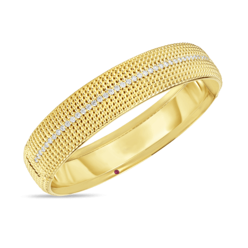 ROBERTO COIN Opera Wide Hinged Diamond Bangle - Carats Jewelry and Gifts