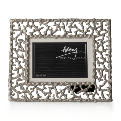 """MICHAEL ARAM Ocean Reef Frame Holds 4 x 6 or 5 x 7 photo) 10""""L x 8.25""""W; Nickelplate, Grey Sand Washed Enamel - Carats Jewelry and Gifts"""