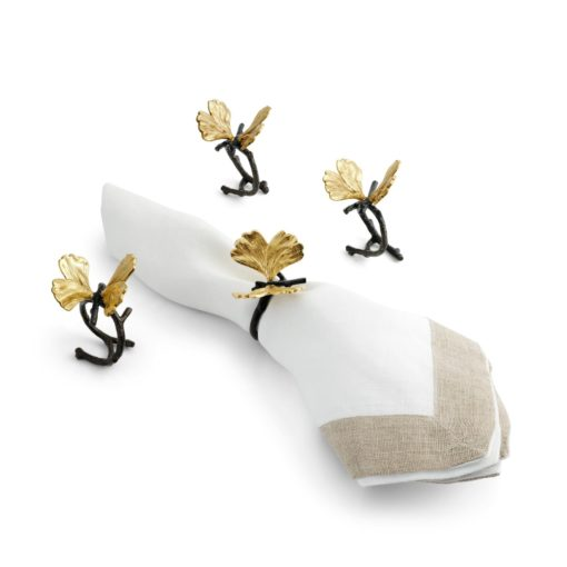 Butterfly Ginkgo Napkin Ring Set of 4 - Carats Jewelry and Gifts
