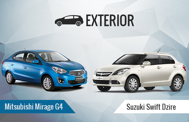 Mirage G4 vs Dzire exterior