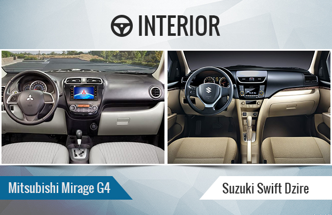 Mirage G4 vs Dzire interior