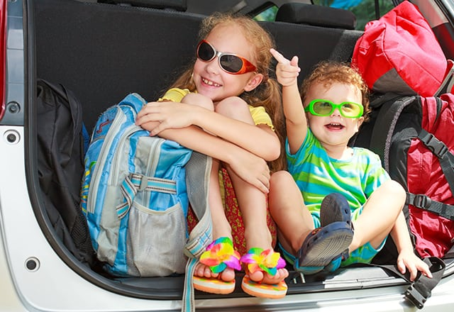 children in bathing suits excited to get to Disney World Resorts