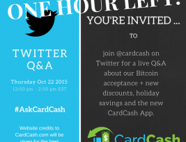 Press release: CardCash Hosting Live Twitter Q&A On Bitcoin, Holiday Savings, and Their New App
