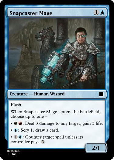Snapcaster Mage as a modal spell with a Lightning Helix mode, an Opt mode, and a Mana Leak mode