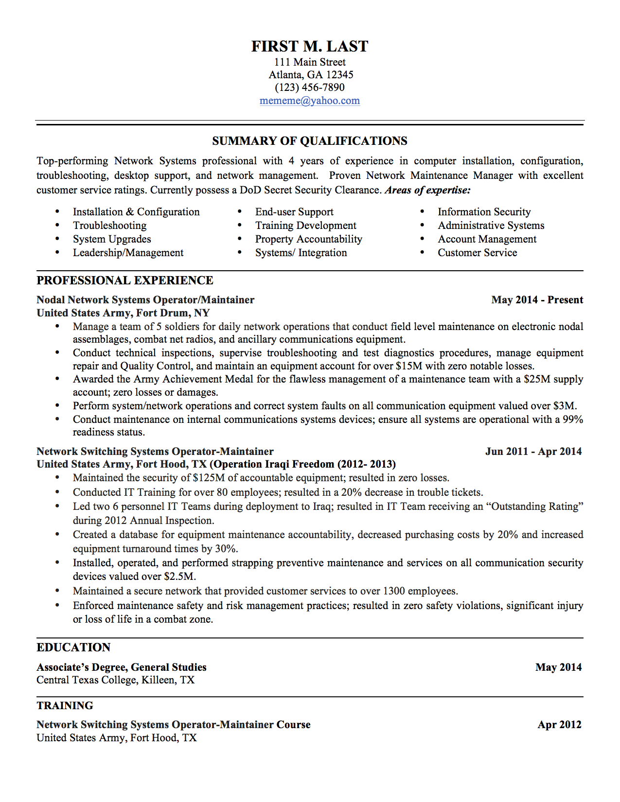 military resume - Army Resume Sample