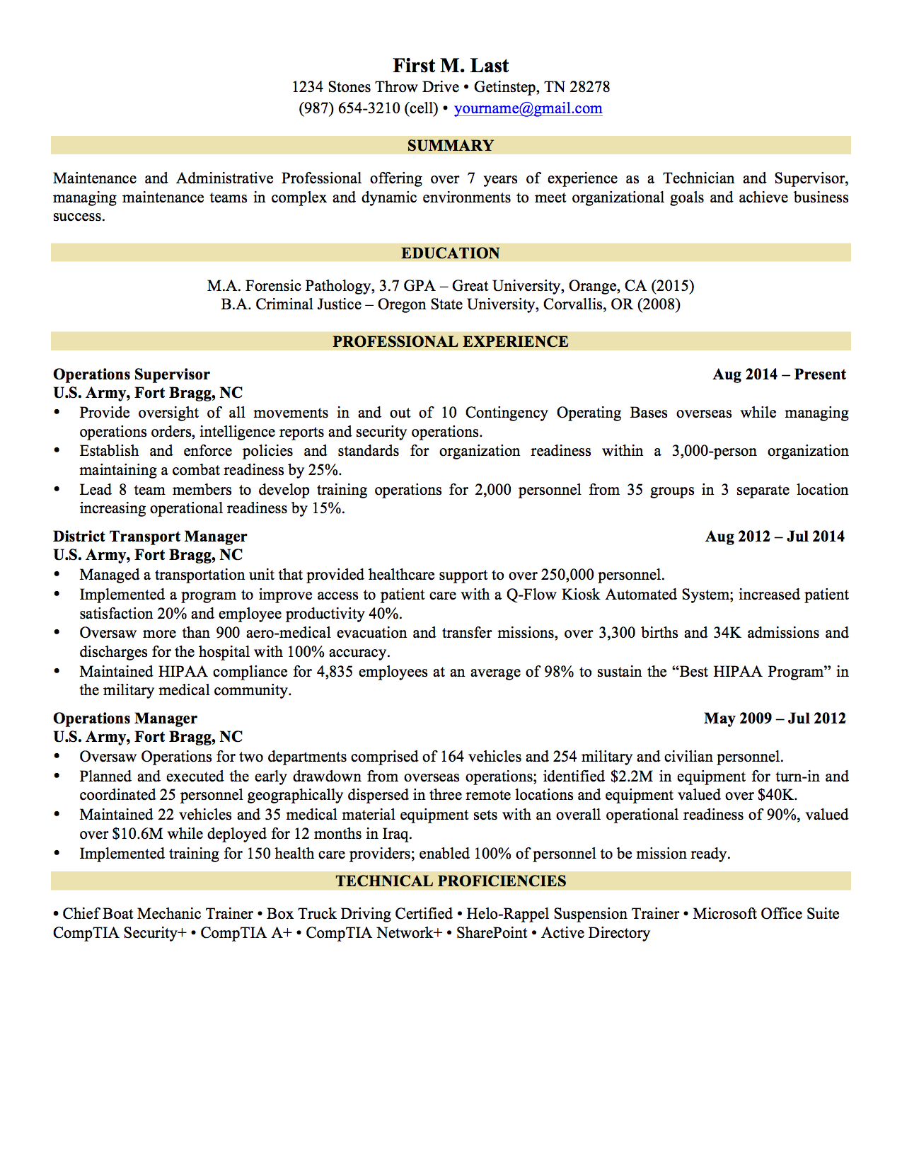 sample military to civilian resumes hirepurpose 1 page