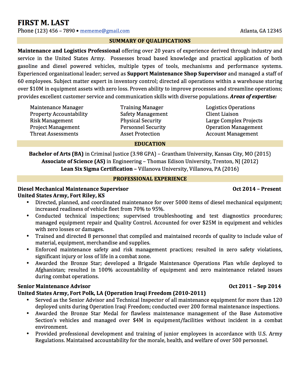 sample military to civilian resumes hirepurpose 2 pages