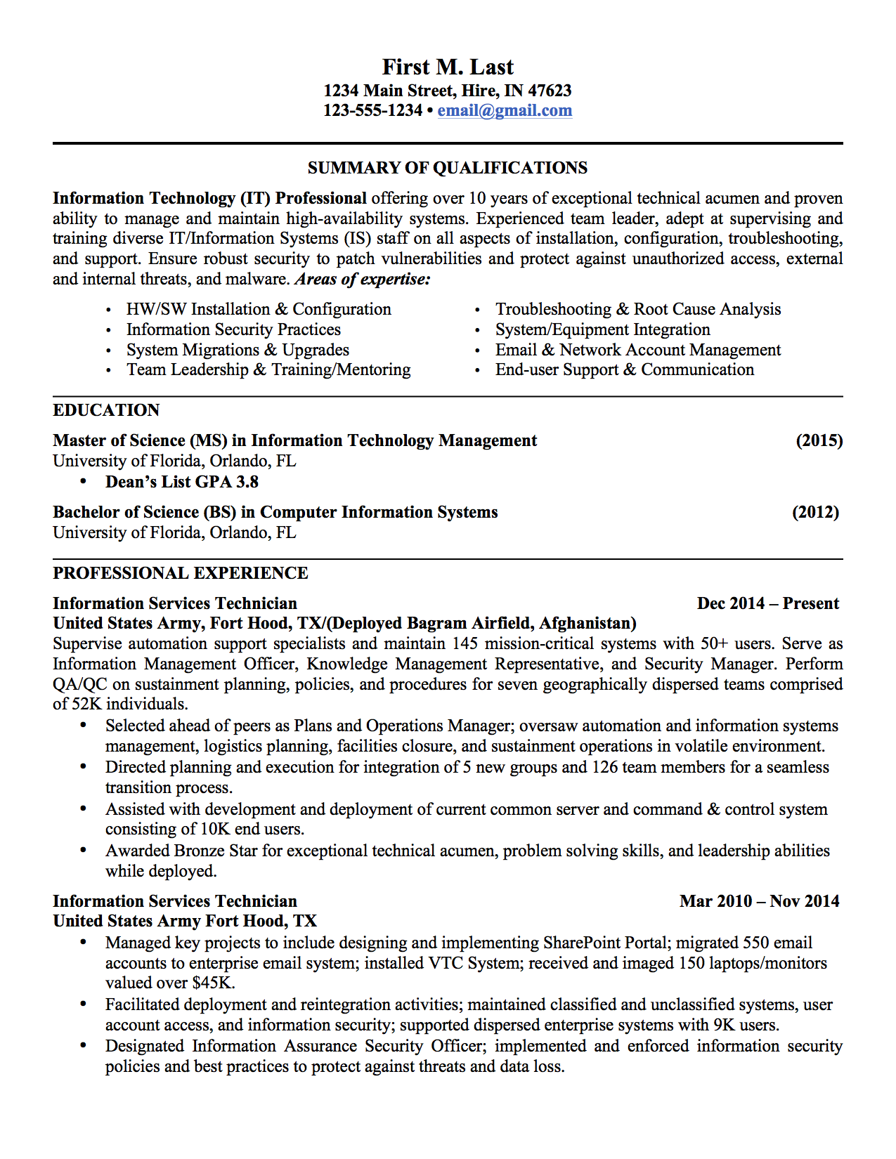 6 sample military to civilian resumes - It Sample Resumes