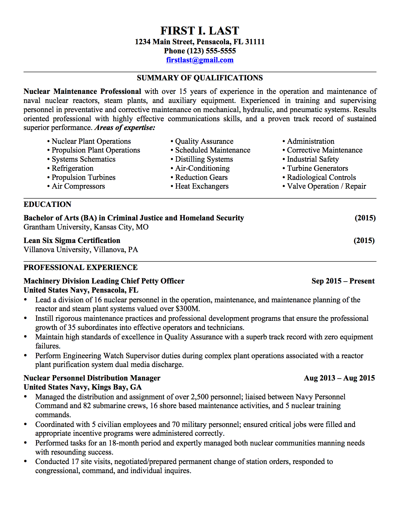 2 pages - Military Mechanical Engineer Sample Resume