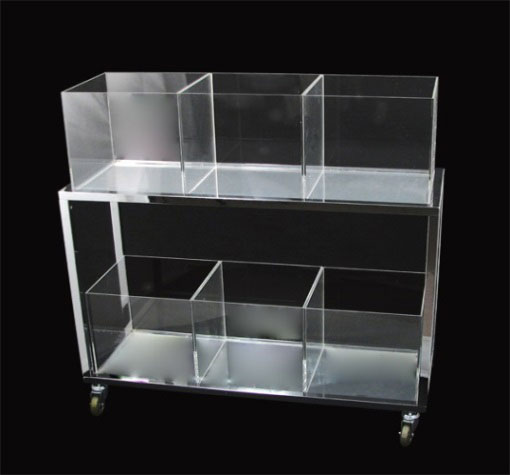 Image of metal rolling cart with acrylic cubes
