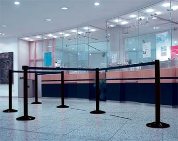 Image of stanchion & belt crowd control system