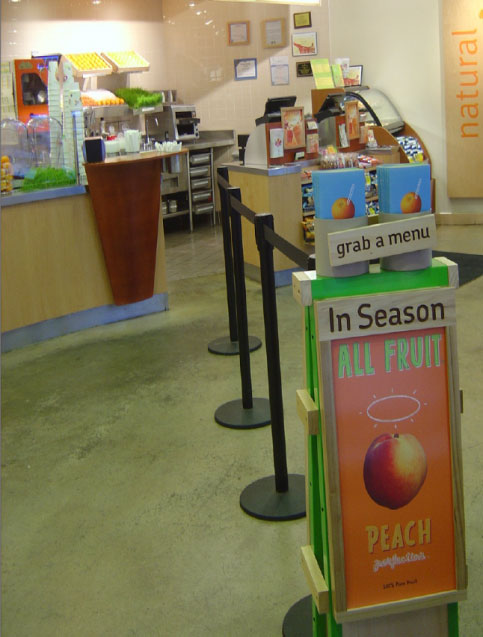 Image of queueing line in juice bar