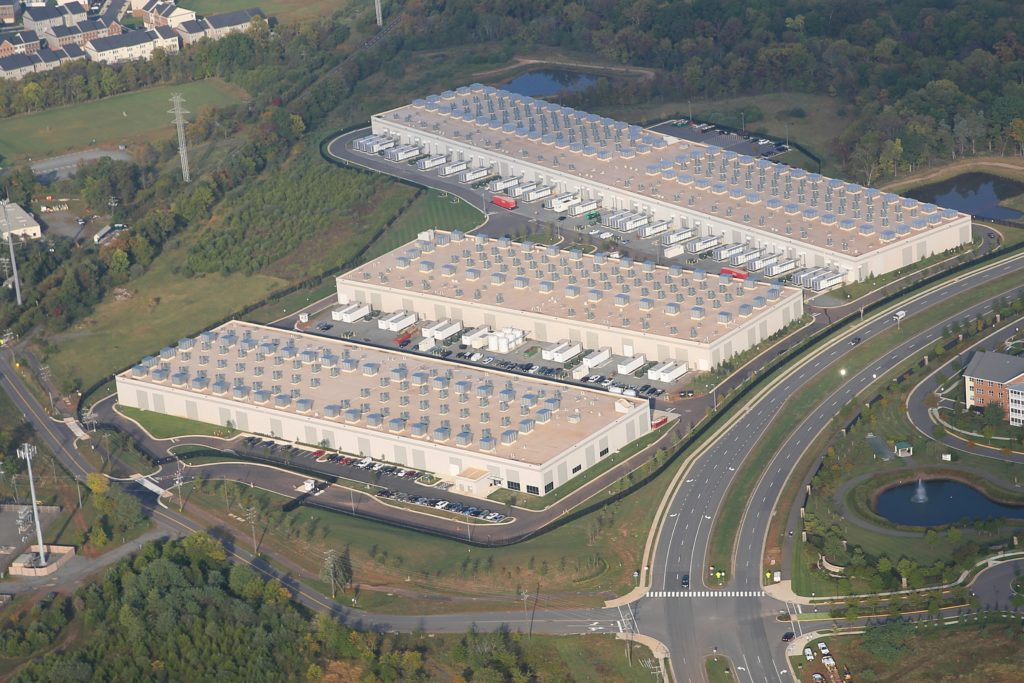 An aerial photograph of one of Amazon's data centers near Dulles International Airport in northern Virginia. (CJ photo by Don Carrington)