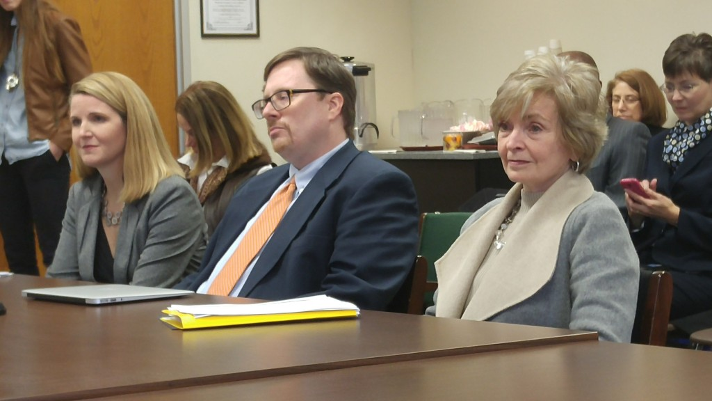 From left, Best NC's Brenda Berg, the John Locke Foundation's Terry Stoops, and state Superintendent June Atkinson prepare to discuss teacher compensation on Jan. 27 before a House committee. (CJ Photo by Barry Smith)