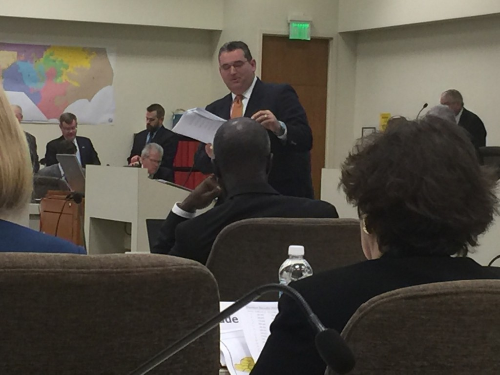 Rep. David Lewis, R-Harnett, describes new congressional maps Wednesday to a legislative committee. (CJ Photo by Dan Way)