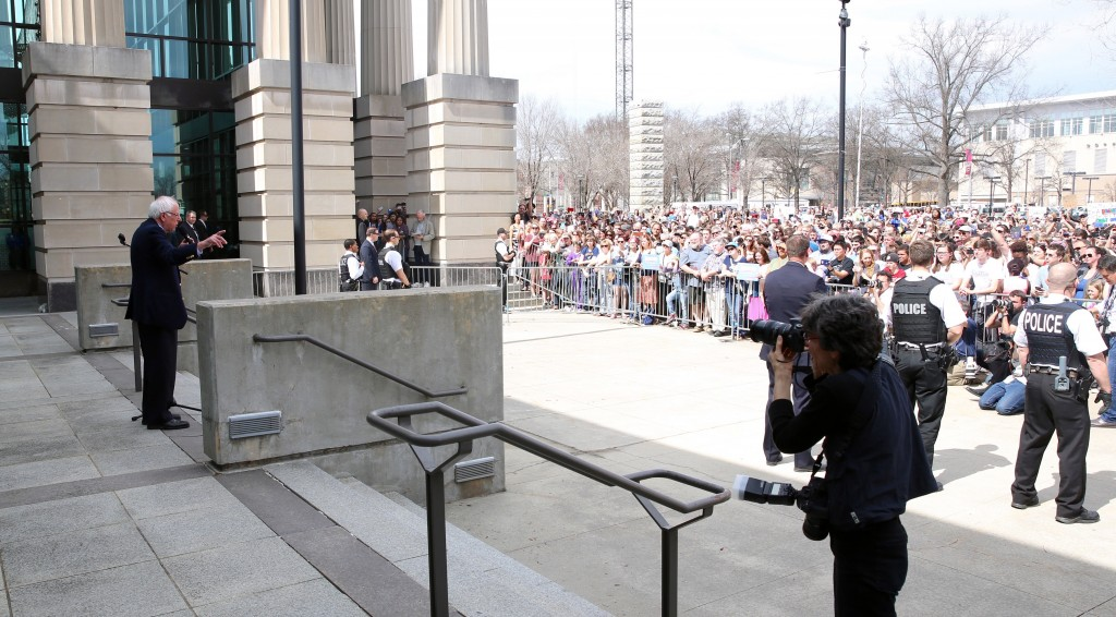 Democratic presidential candidate Bernie Sanders speaks in 2016 to an overflow crowd outside Raleigh's Memorial Auditorium. (CJ Photo by Don Carrington)