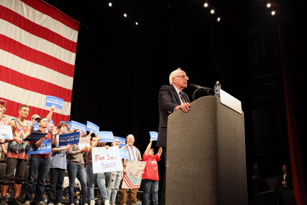 U.S. Sen. Bernie Sanders, D-Vermont, speaks to a packed house in March 2016 at Raleigh's Memorial Auditorium. (CJ photo by Don Carrington)