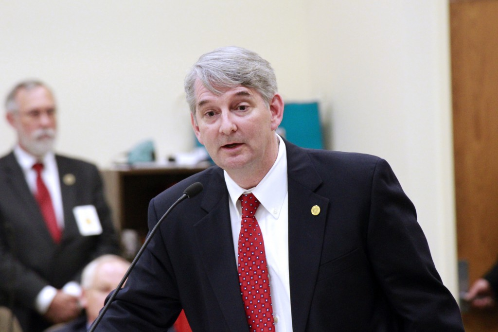 State Sen. Buck Newton, R-Wilson, discusses House Bill 2 during committee debate. (CJ photo by Kari Travis)