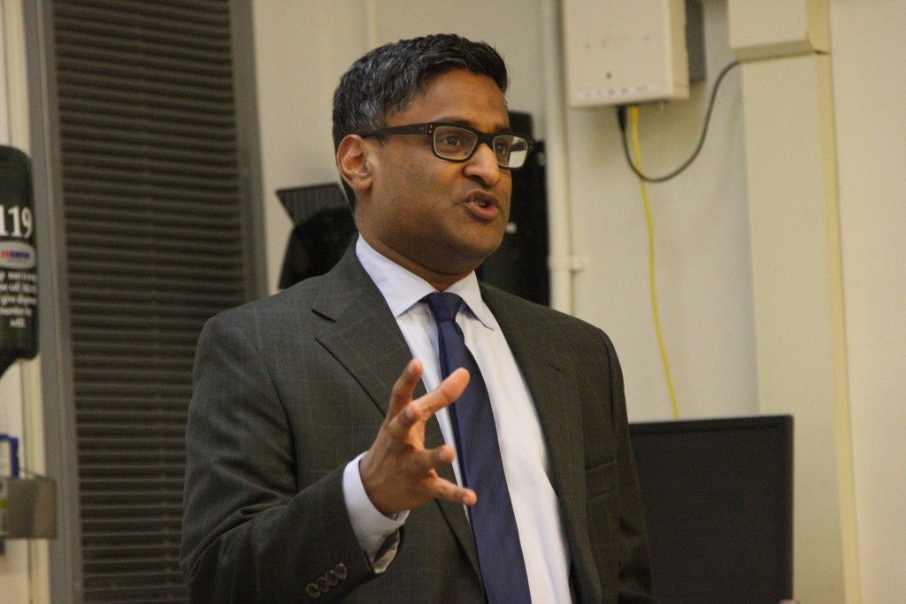 Ramesh Ponnuru, National Review senior editor and American Enterprise Institute fellow, talks to students about free expression at a Wednesay speech at Duke University. (CJ photo by Dan Way)