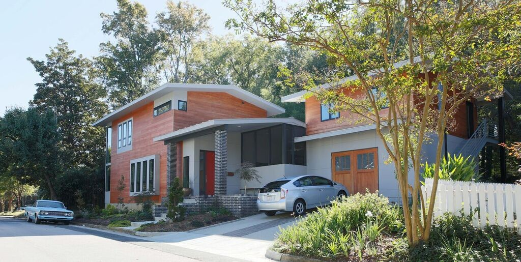 Owners of the Cherry-Gordon house, in Raleigh's historic Oakwood neighborhood, had to go to court for the right to build a modernist house even though it met city zoning rules. (Photo from NCModernist.org website)