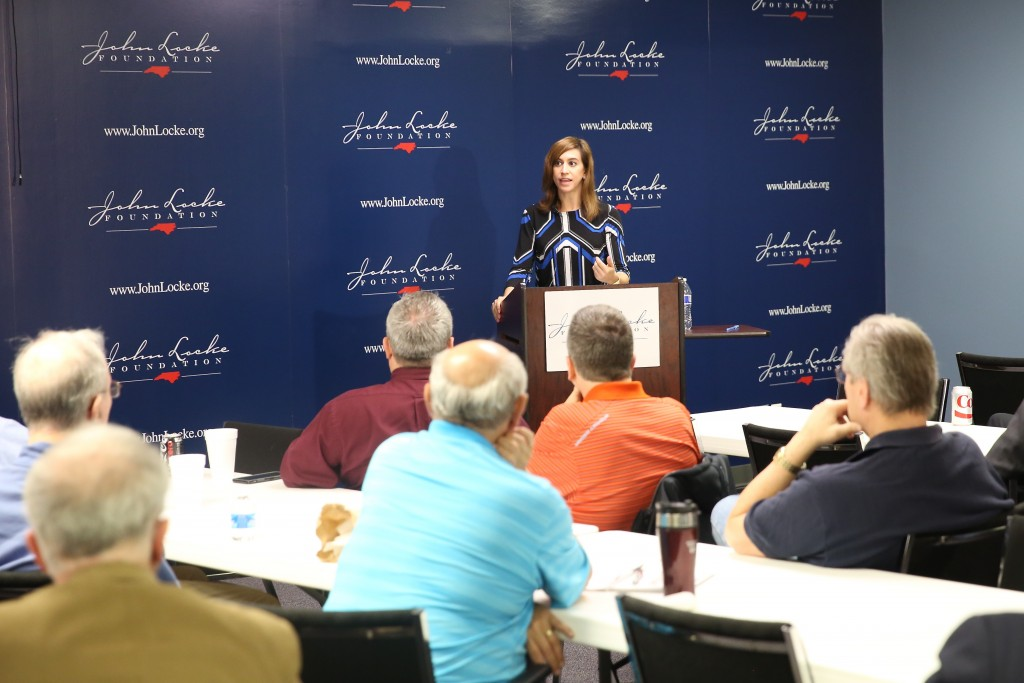 Christina Sandefur of the Goldwater Institute in Phoenix, Ariz., discusses 'Right to Try' Monday at the John Locke Foundation's Shaftesbury Society. (CJ Photo by Don Carrington)