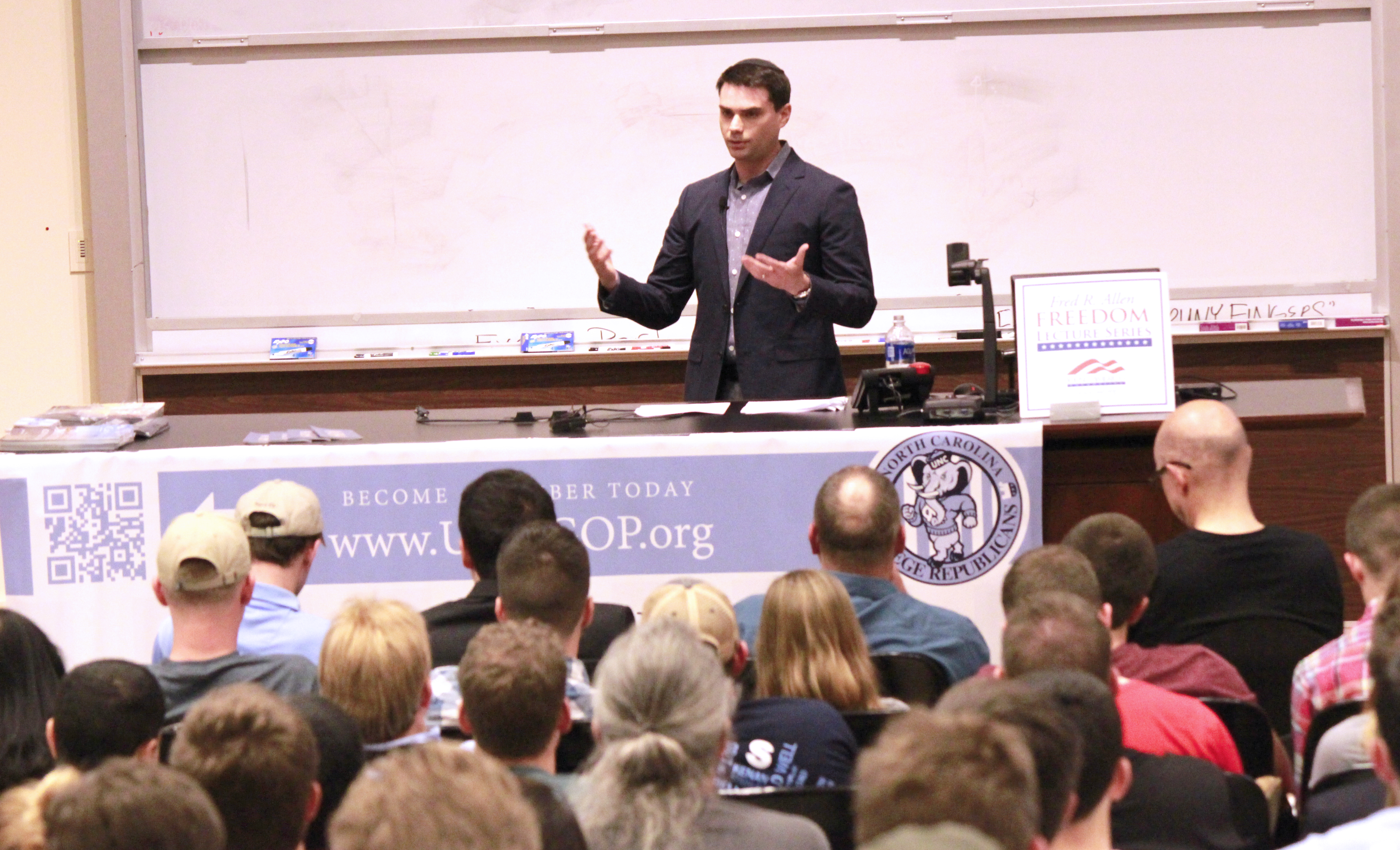 Political commentator and author Ben Shapiro addresses a group of students at UNC Chapel Hill on March 30, 2016. (Photo by Kari Travis)