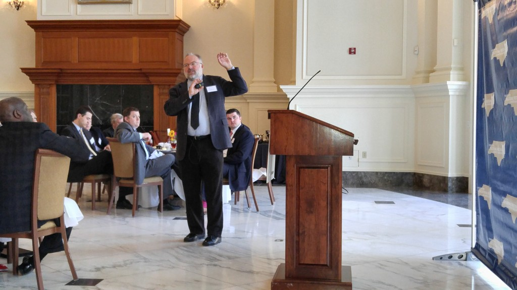 Matthew Ladner of the Foundation for Excellence in Education speaks of changing demographics at a Wednesday luncheon in Raleigh. (CJ photo by Barry Smith)