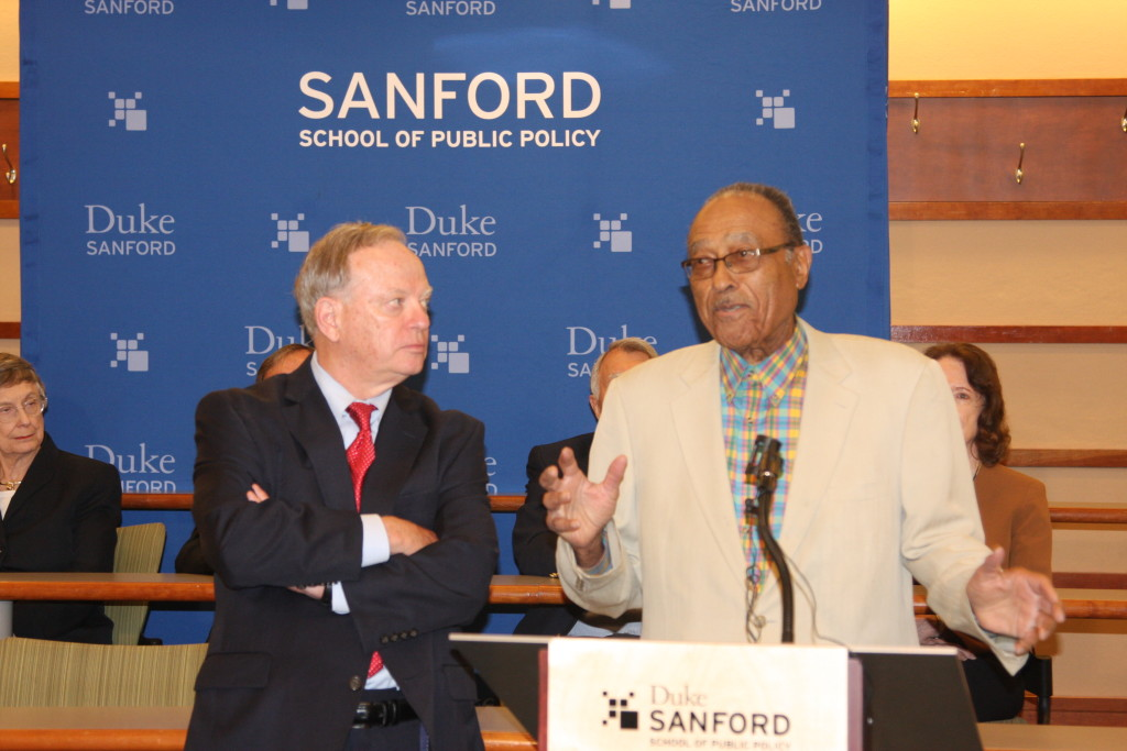 Former state Supreme Court Justice Bob Orr, at left, and former Chief Justice Henry Frye discuss redistricting reform at a Duke University forum. (CJ Photo by Dan Way)