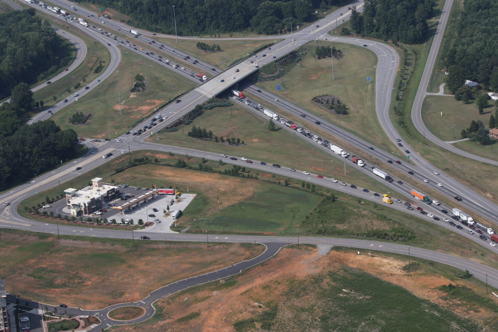 An aerial photograph of Interstate 77 at Exit 31 in June 2015 shows rush-hour traffic. (CJ file photo)
