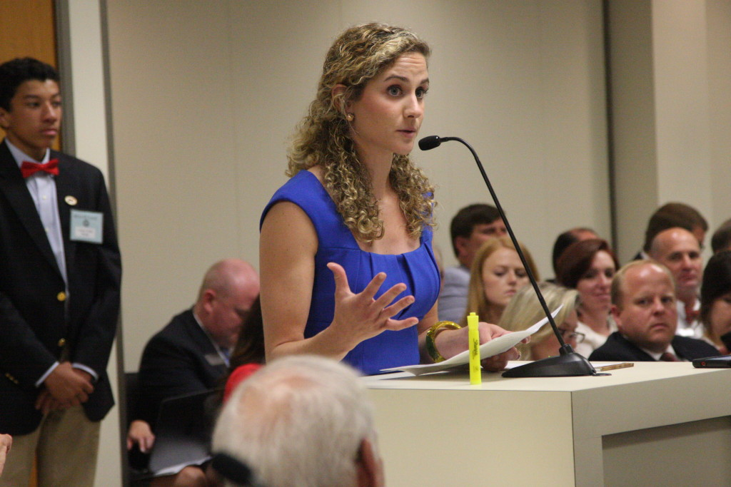 Katherine Restrepo, health and human services policy analyst at the John Locke Foundation, speaks against certificate-of-need regulations at a Tuesday meeting of the Senate Health Care Committee. (CJ photo by Dan Way)