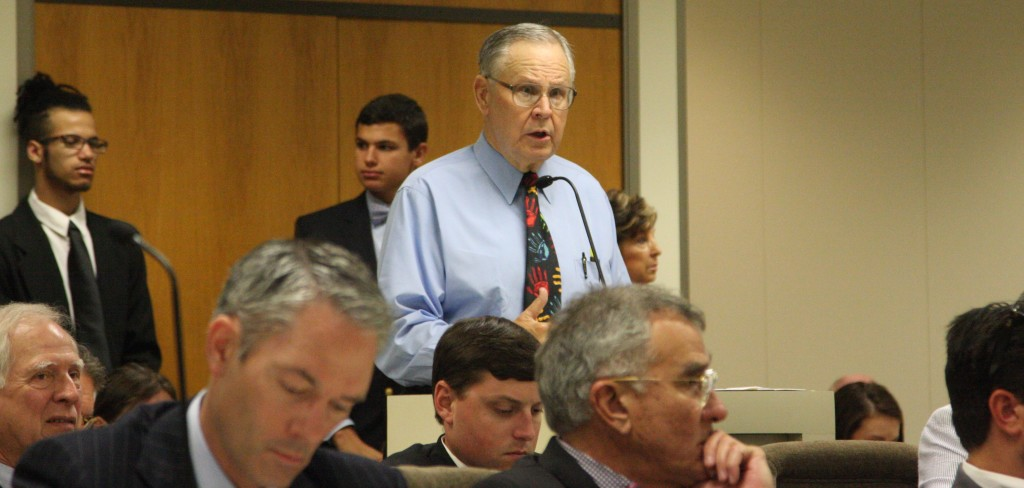 William Potter, spokesman for the North Carolina Dental Society, speaks on behalf of a bill clarifying rules on dental sedation at a July 14 meeting of the Senate Health Care Committee. (CJ photo by Dan Way)