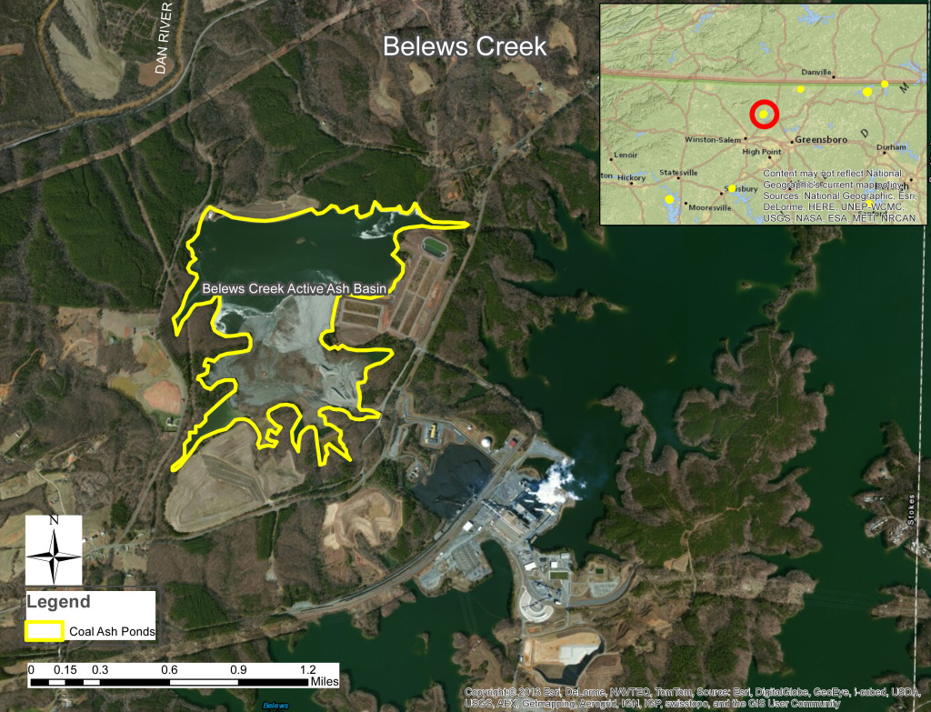 Image of Belews Creek coal ash pond (Graphic from N.C. Department of Environmental Quality website)