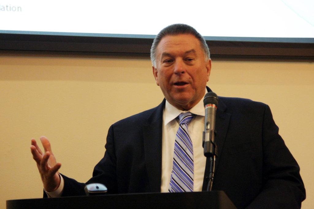 "Rep. Paul ""Skip"" Stam, R-Wake, shown at a November 2015 forum on redistricting reform at N.C. State University (CJ file photo)"