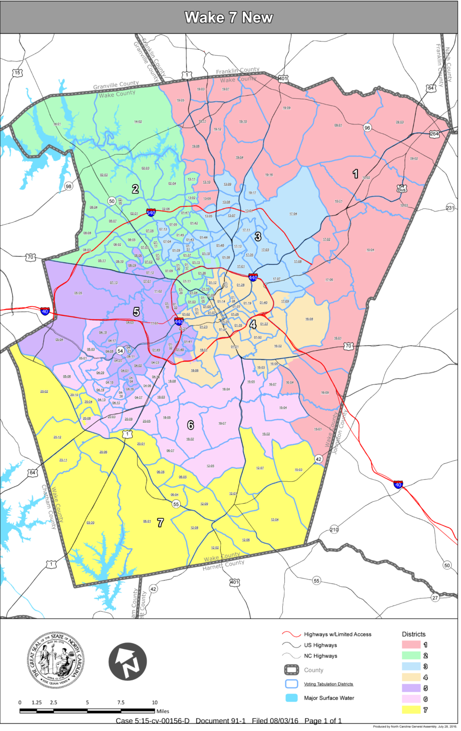 Have Filed New Maps With The U S District Court And Are Urging The Judge Handling The Case To Approve The Maps For The 2016 Election For Wake County