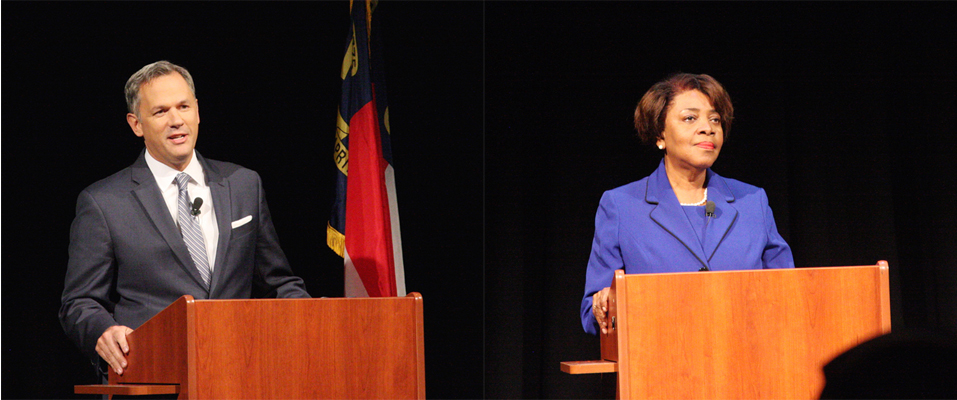 """GOP Lt. Gov. Dan Forest, left, and Democratic challenger Linda Coleman faced questions Tuesday at the first of a series of """"Hometown Debates"""" in Wilson. (CJ photos by Dan Way)"""