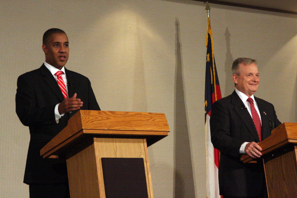 State treasurer nominees Dan Blue III (left) and Dale Folwell (right) laid out contrasting visions of the office in a Tuesday night debate in Statesville. (CJ photo by Dan Way)