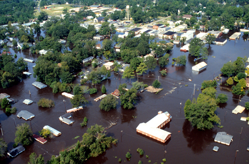Flooding from 1999's Hurricane Floyd inundated the campus of East Carolina University. (Photo courtesy East Carolina University)